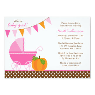 Fall Pumpkin Pink Orange Banner Girl Baby Shower Card