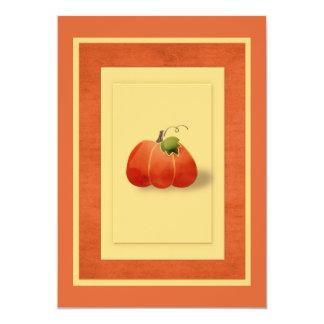 "Fall Pumpkin Simple Tailored 5"" X 7"" Invitation Card"
