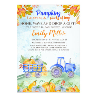 Fall pumpkin tractor blue baby shower invitation