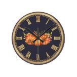 Fall Pumpkin Trio Round Clock