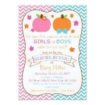 Fall Pumpkin Twin Gender Reveal Invitations