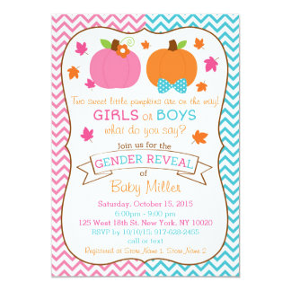 Fall Pumpkin Twin Gender Reveal Invitations