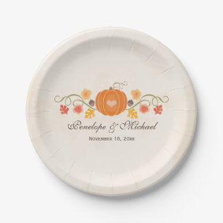 Fall Pumpkin Wedding Couples Bridal Shower Paper Plate