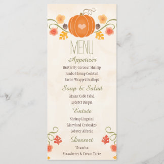Fall Pumpkin Wedding Menu