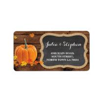 Fall Pumpkin Wedding Return Address Label Chalk
