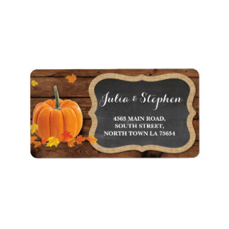 Fall Pumpkin Wedding Return Address Label Chalk