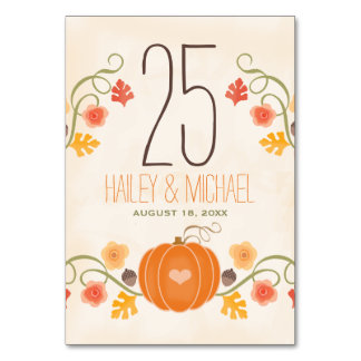Fall Pumpkin Wedding Table Number Cards