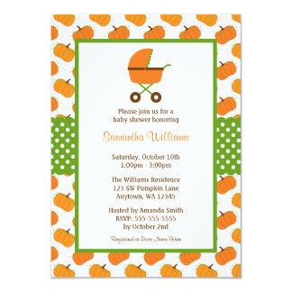 Fall Pumpkins Carriage Baby Shower Card