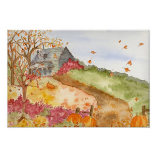 Fall Pumpkins Country Home Watercolor Landscape Poster