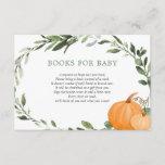 Fall pumpkins greenery baby shower book request en enclosure card