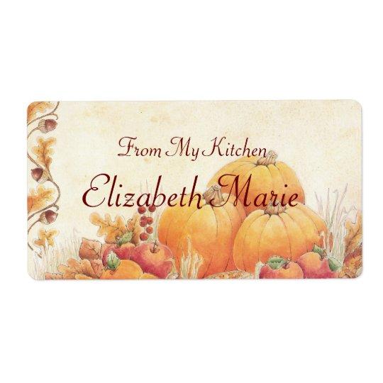 Fall Pumpkins Homemade Label