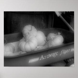 Fall Pumpkins In Wagon Black White Photo Print