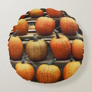 Fall pumpkins round pillow