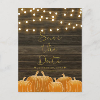 Fall Pumpkins & String Lights Rustic Save the Date Announcement Postcard