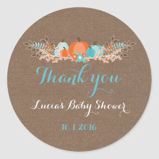 Fall Pumpkins Thank You Tags Burlap Background Classic Round Sticker