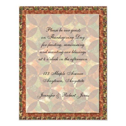 Fall Quilt Thanksgiving Invitation