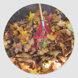 Fall - Raking the Leaf Harvest , Photograph Classic Round Sticker
