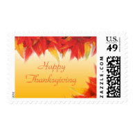 Fall red leaves golden happy thanksgiving postage