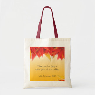 fall red leaves thank you bag