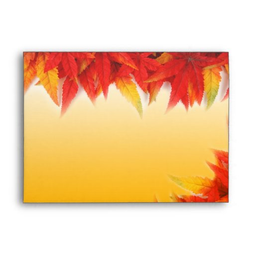 Fall red maple leaves envelope