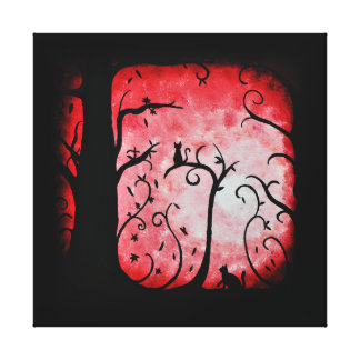 Fall Red Swirled Tree with Cats Canvas Print