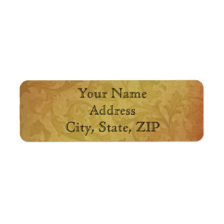 Fall Regency in Black and  Gold Damask Anniversary Label