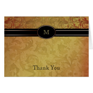 Fall Regency in Black and Gold Damask Thank You Card