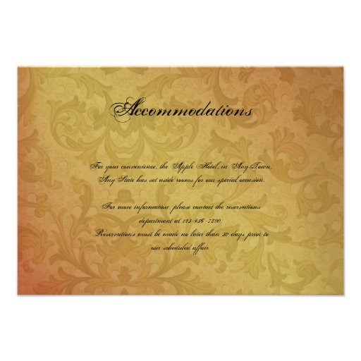 Fall Regency Wedding Insert Announcements