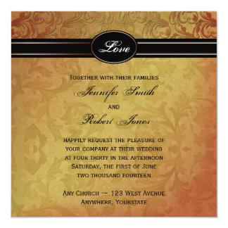 "Fall Regency Wedding Invitation 5.25"" Square Invitation Card"