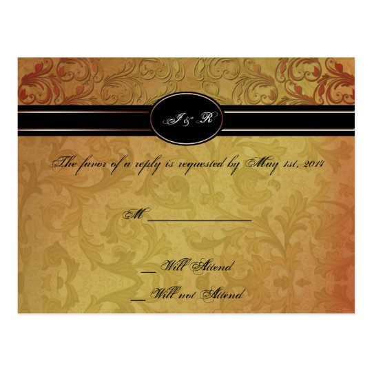 Fall Regency Wedding RSVP Postcard