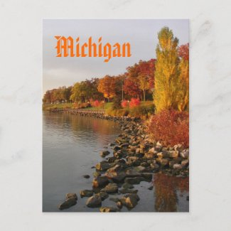 fall river bank, Michigan postcard