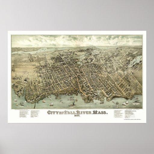 Fall River, mapa panorámico del mA - 1877 Impresiones