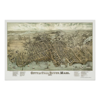 Fall River, mapa panorámico del mA - 1877 Póster