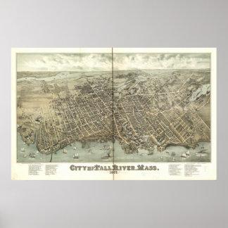 Fall River Massachusetts 1877 Antique Panorama Print