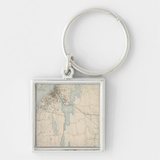 Fall River, Massachusetts Silver-Colored Square Keychain