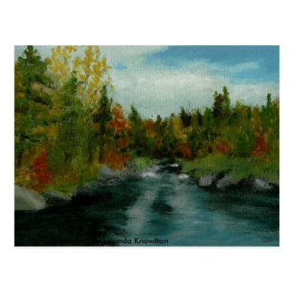 Fall River Oil painting by Lucinda Knowlton Postcard