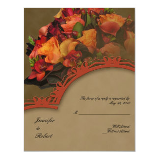 Fall Rose Bouquet Response Card Personalized Invites