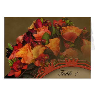 Fall Rose Bouquet Table Number tent card