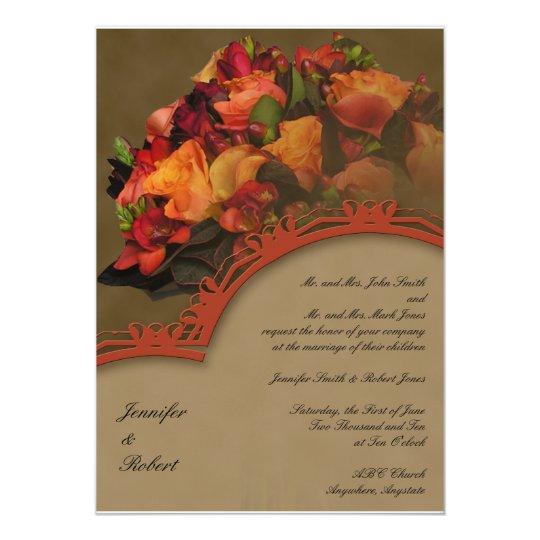 Fall Rose Bouquet Wedding Invitation
