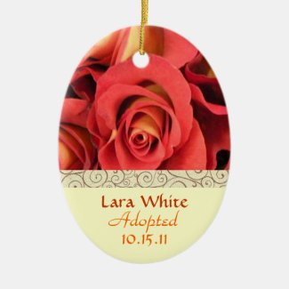 Fall Rose Floral Adoption Announcement Keepsake Ceramic Ornament