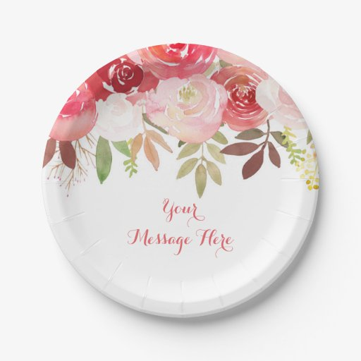 Fall Rose Floral Bridal Shower Paper Plate