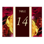 Fall Roses Table Number Card Postcards