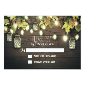 Fall RSVP cards with twinkle lights mason  jars Custom Invite