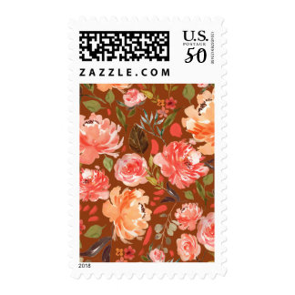 Fall Rust Peach Olive Watercolor Floral Wedding Postage