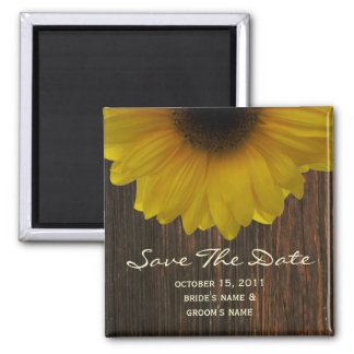 Fall Save The Date Magnet - Sunflower & Barnwood