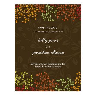 Fall Save the Date Wedding Invitation Postcard