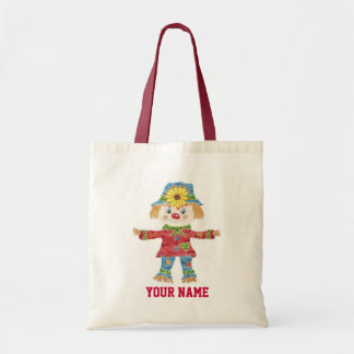 Fall scarecrow kid personalized library book tote bag