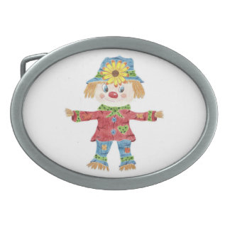 Fall scarecrow white oval belt buckle