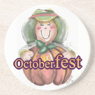 Fall Scarecrown with a Pumpkin Drink Coaster