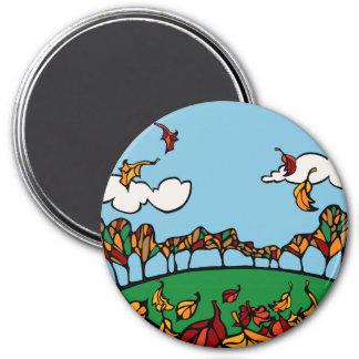 Fall Scene 3 Inch Round Magnet